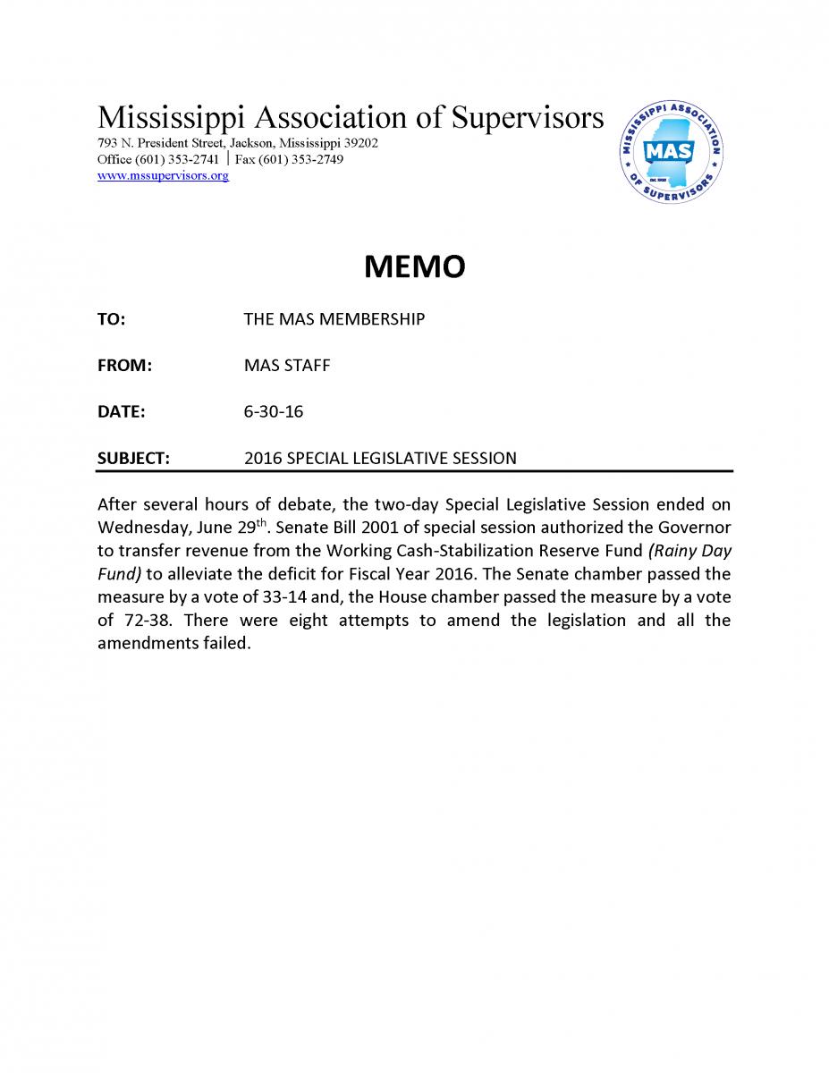 special legislative session memo mississippi association of special legislative session memo